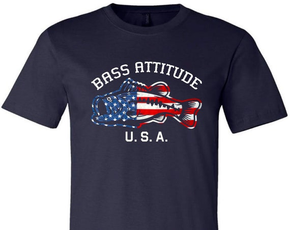 Bass Attitude USA Logo - DTG Print - Made In The USA Crewneck T-Shirt