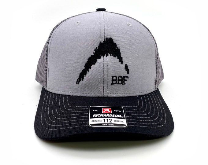 Black Edition Fish Finder Logo- Embroidered Snap-Back, Structured Trucker Cap Hats by Bass Attitude Fishing