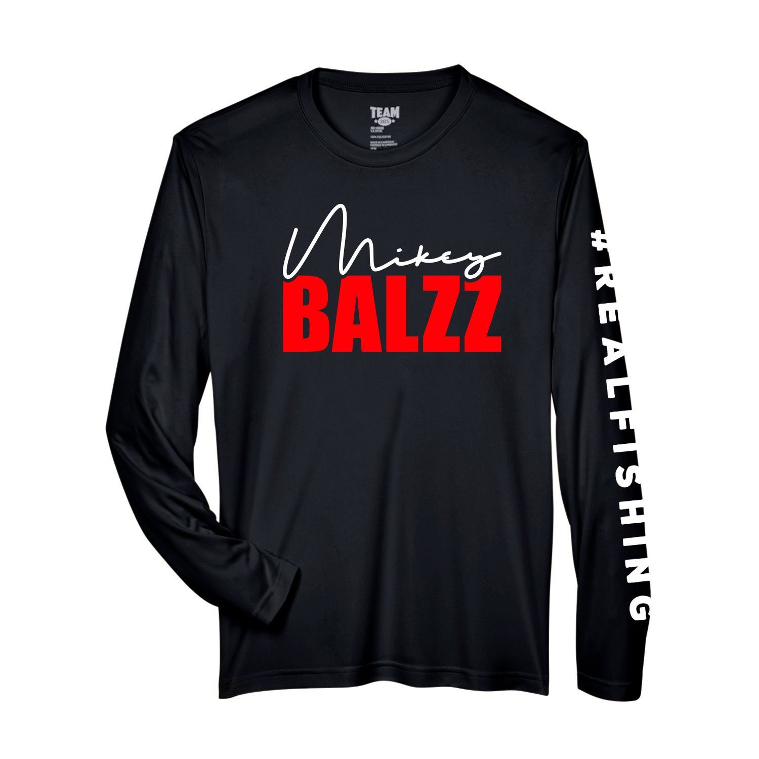 Signature Mikey Balzz - Moisture-Wicking and UV Protection - Long Sleeve Shirt - Zone Performance Long Sleeve with Vinyl Sleeves and Chest Print. Stay out of the sun with this Bass Attitude Fishing - Sun Blocking (UV Protection) Performance Shirt. Stay Dry with Moisture-wicking poly material.