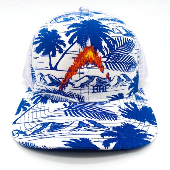 Island Print Graphin - Embroidered Snap-Back, Structured Trucker Caps and Hats by Bass Attitude Fishing