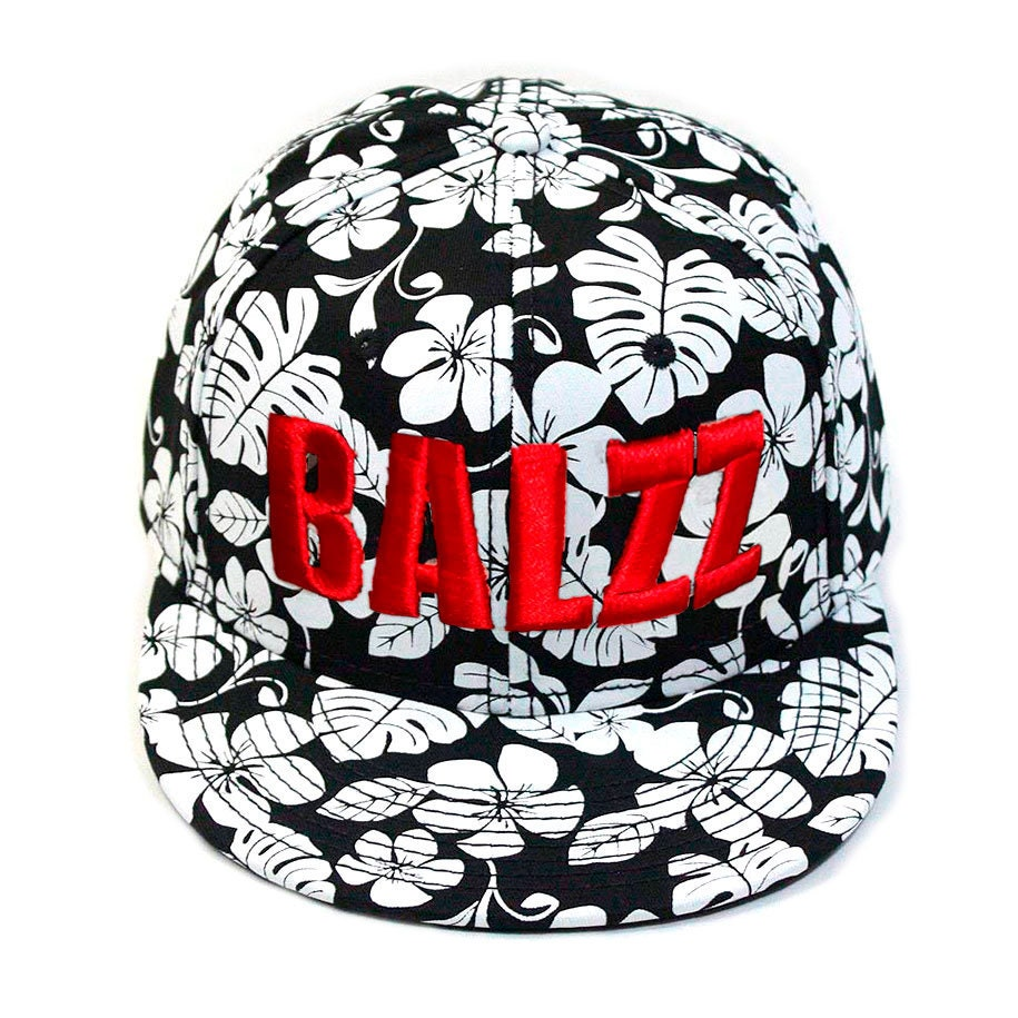Signature Mikey Balzz - 3D Puff Embroidered Hat - Decky Brand, Hawaiian Floral Baseball Cap.  Mikey Balzz Fishing Shirts, Hats, and Caps available at Bass Attitude Fishing. Embroidered using 3-d puff stitching on a floral hawaiian hat.