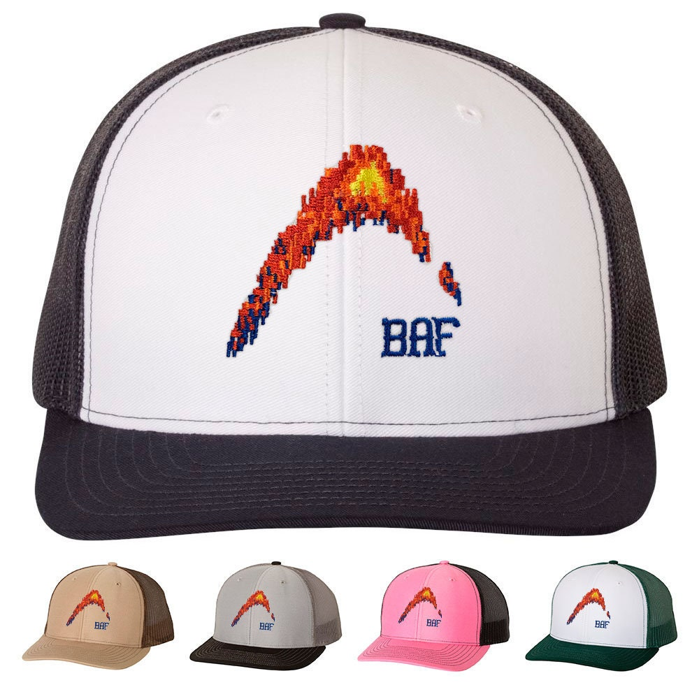 52e858c7 graphin' - BAF Embroidered Snap-Back, Structured Trucker Caps and Hats by  Bass Attitude Fishing
