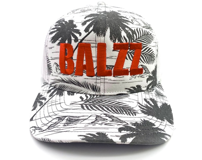 BALZZ Island Print - Embroidered Snap-Back Hat and Richardson Trucker Caps by Bass Attitude Fishing