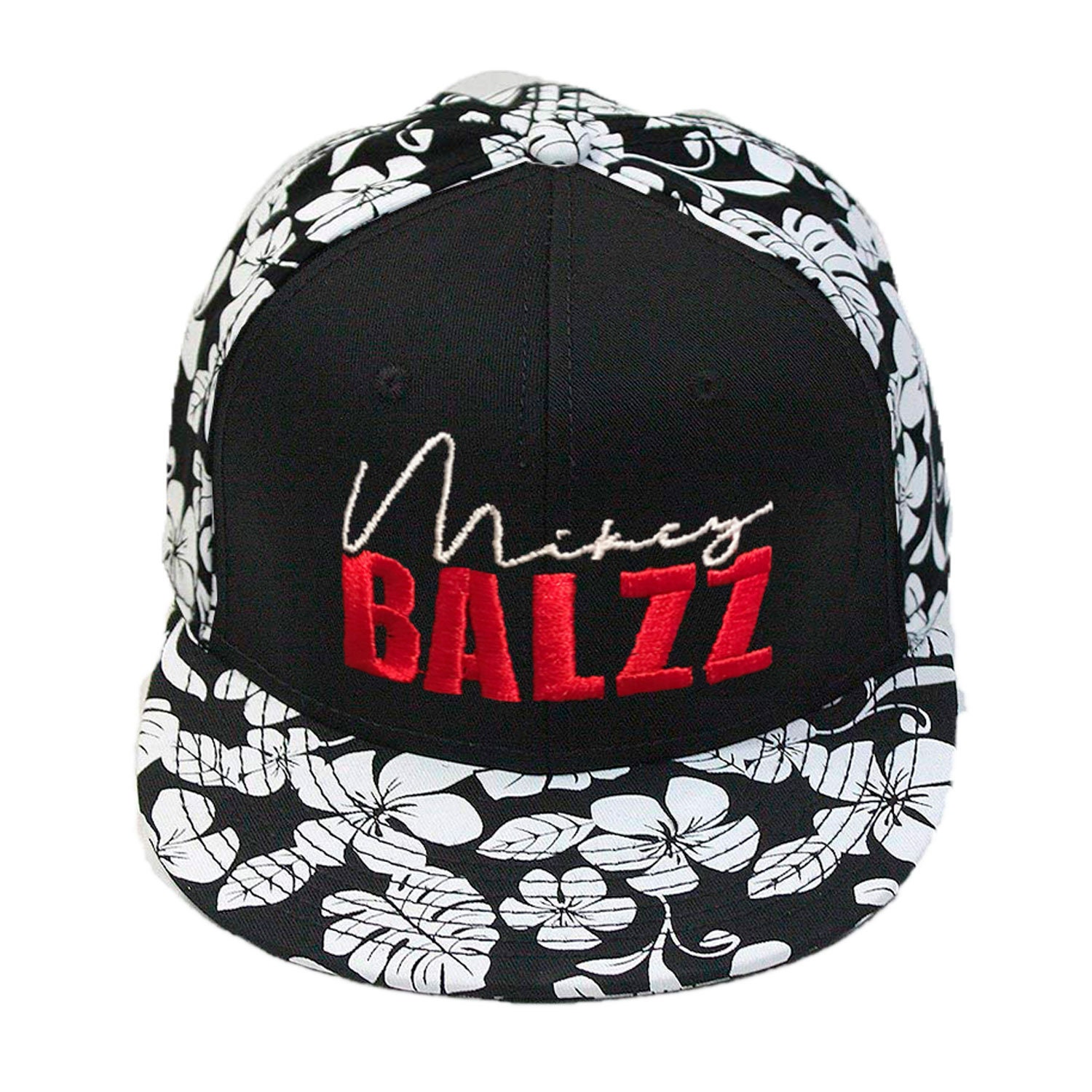 Signature Mikey Balzz - Embroidered Snap-back Hat - Decky Brand, Hawaiian Floral Baseball Cap.  Mikey Balzz Fishing Shirts, Hats, and Caps available at Bass Attitude Fishing. Embroidered on a floral hawaiian hat.