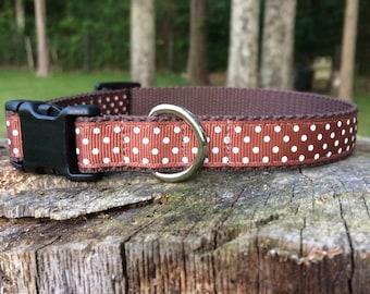 Brown Dot Dog Collar