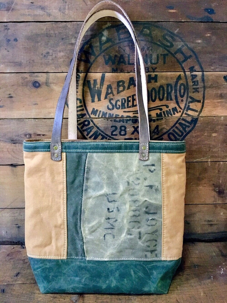 military duffel and cot canvas Joyce leather straps USMC waxed canvas Original medium tote with leather straps P.F re-purposed