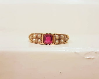Antique 15ct gold ruby pearl ring