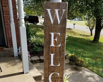 4 Ft Rustic Dark Walnut Front Porch Welcome Sign Wooden For Outdoor Home Decor Birthday