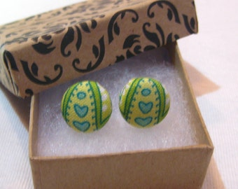 Small Blue and Green Heart Button Earring, Heart Earring, Green Earring, Button Earring, Button Fabric Earrings, Gift for Her, Handmade