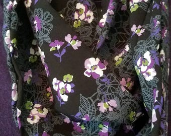 Black Lace and Flower Infinity Scarf, Black Scarf,  Lace Scarf,  Flower Scarf, Lace  Infinity Scarf, Handmade Scarf, Great Gift, For Her