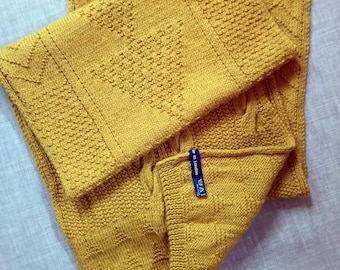 Authentic & Modern Guernsey Hand-knitted Large Scarf in Cornish Gold Mustard Yellow