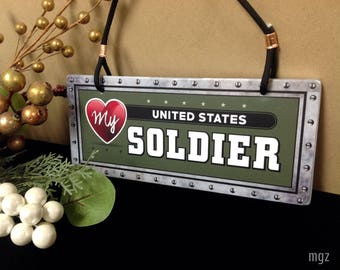 Love My US Soldier Sign | Army Deployment Gift | Ceramic Sign Wall Decor, Military Spouse Gift, Unique Army Valentines Day Gift, Army Love