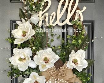 Charmant BEST SELLING WREATH,Grapevine Wreath,Summer Wreath,Front Door Wreath,Motheru0027s  Day Gift,Elegant Wreath,Magnolia Wreath,Wreaths For Door