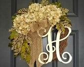 Spring Wreath ,Year Round Cream Hydrangea Wreath for Front Door , Grapevine Wreath with Burlap and Initial , Spring Monogram Everyday Wreath