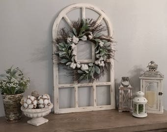 Great Farmhouse Wall Decor,Distress Window Pane,Grapevine Wreath,Wall Decor,Housewarming  Gift,Wedding Decor,Rustic Wall Decor,Distress Wall Decor