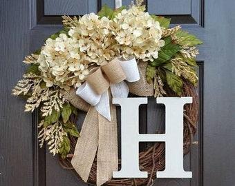 Front door wreath,Hydrangea Wreath Farmhouse Wreath farmhouse decor summer  Wreath,Southern Wreath,Housewarming Gift