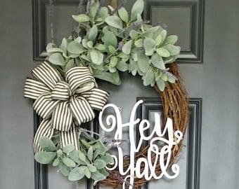 Farmhouse Wreath,Country Wreath,Front Door Wreath,Grapevine Wreath,Rustic Wreath,Summer Wreath,Lamb's Ear Wreath,Cottage Wreath,Wreaths