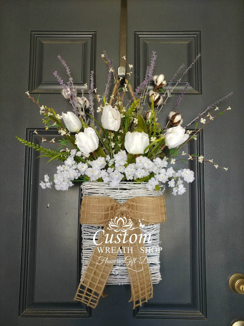 Cotton WreathFarmhouse Wall DecorTulip WreathFront Door image 0