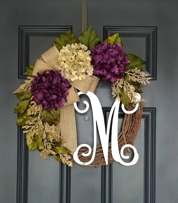 Farmhouse Wreath Neutral Fall Wreath Purple Hydrangea Wreath Purple Floral Front Door Wreath Hydrangea Door Wreath for All Seasons