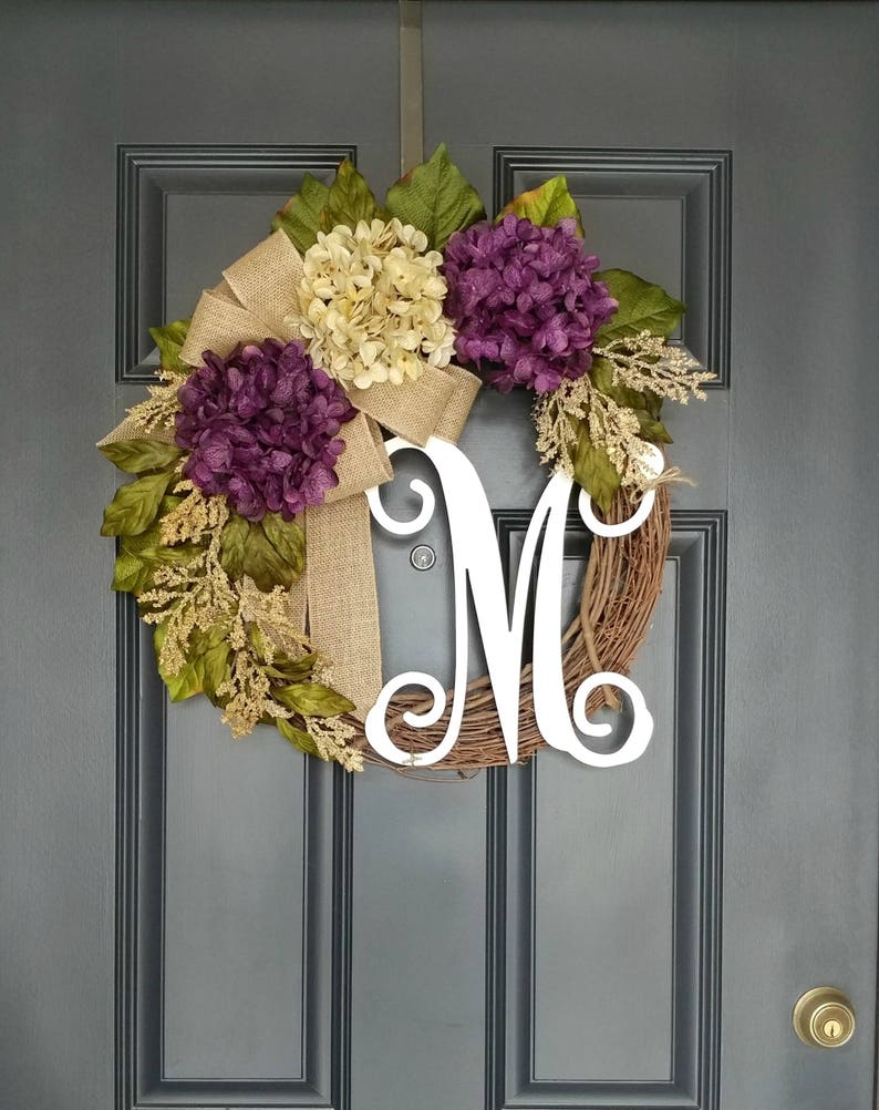 Housewaming Gift,Front Door Wreath,Purple Hydrangea Wreath,Wreath for Door,Summer Wreath For Door,Year Round Wreath,Wreath With Letter
