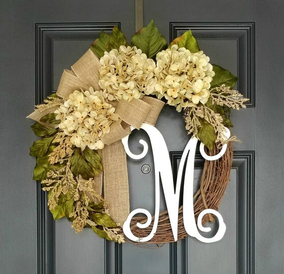Year Round Wreath for Front Door Housewarming Gift Everyday Hydrangea Wreath with Monogram All Season Grapevine Wreath with Initial