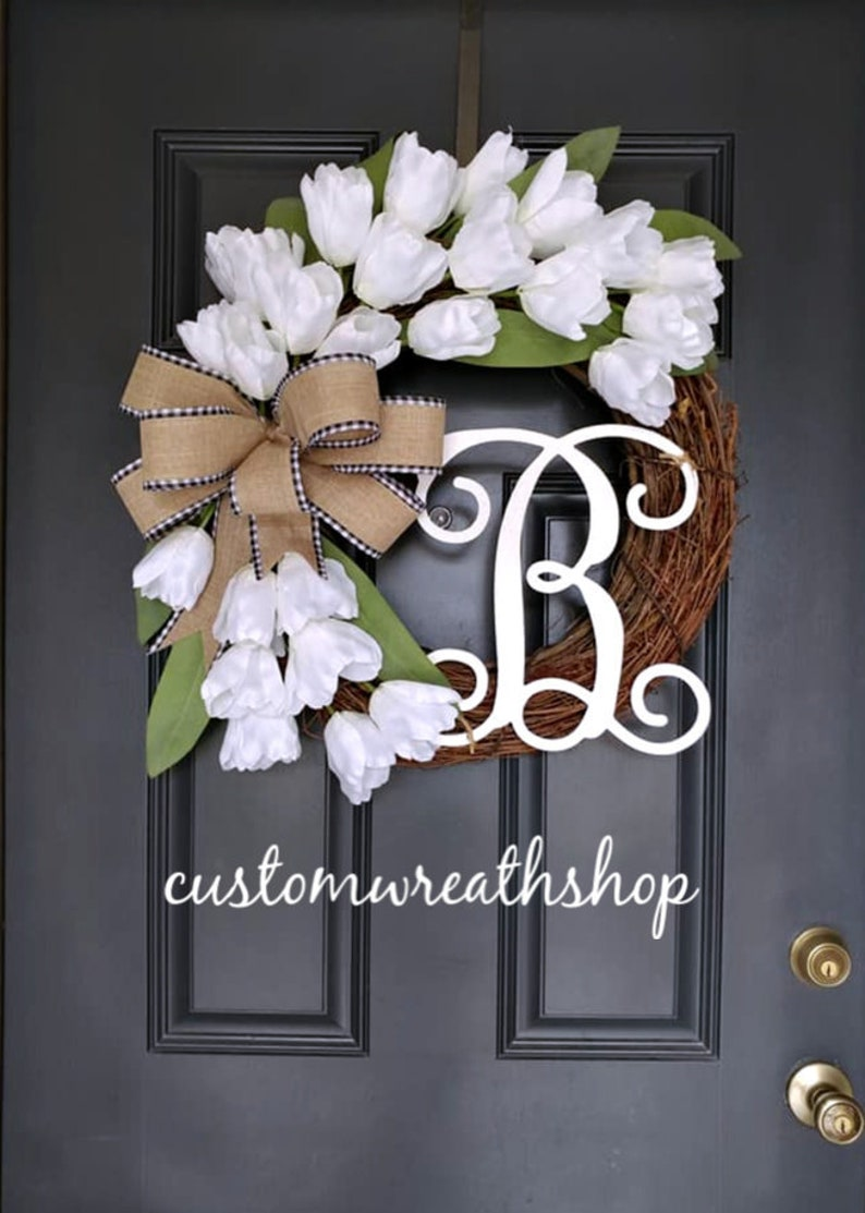 White Wreath for Spring Front Door Wreath Everyday Wreath image 0