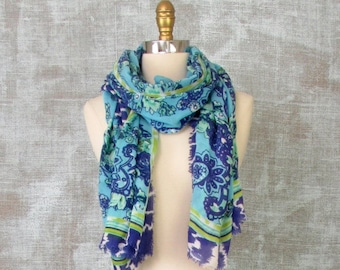 Womens Cotton Scarf, Paisley Scarf, Blue Scarf, Womens Long Scarf, Fringe