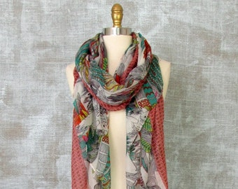 Womans Scarves Parrot, Scarf with Birds, Sheer Scarf, Long Scarf, Summer Scarf