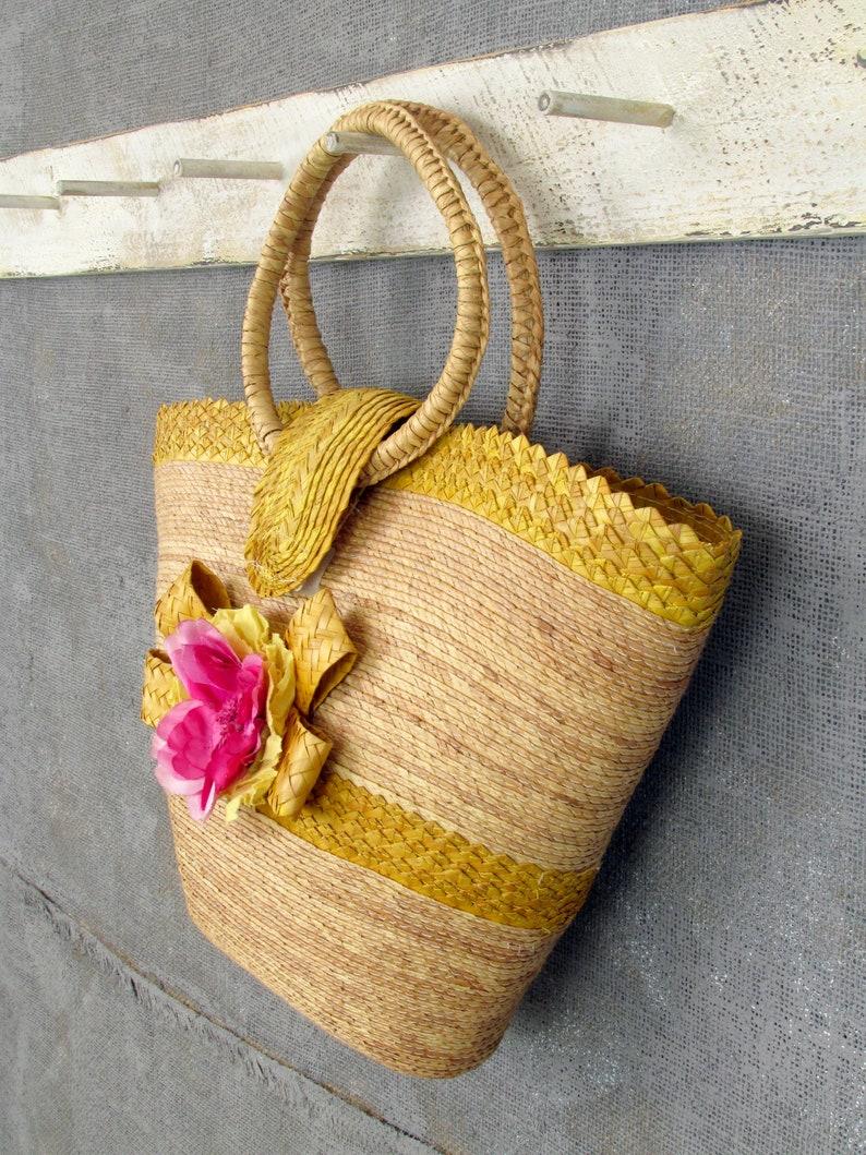 Circle Handles Vintage Straw Summer Tote Summer Straw Bag Yellow