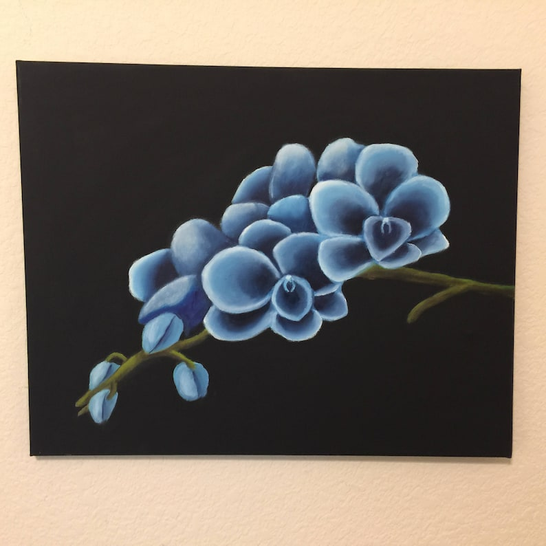 oil on canvas black background great Easter gift flower painting Blue Orchid branch from right oil painting on canvas
