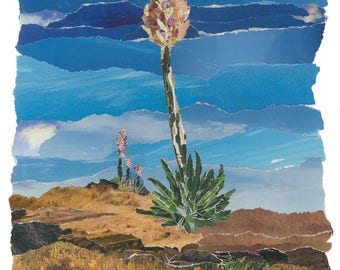 Yucca - Unique Torn Paper Collage Landscapes - Matted Prints & Greeting Cards