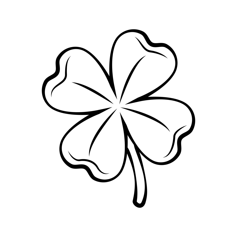 Kleeblatt Clipart Schwarz Weiß