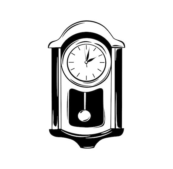 Antique wall pendulum clock icon SVG   Dial, Pendulum   Design element    Watch store logo   Vector illustration   Digital cutting file