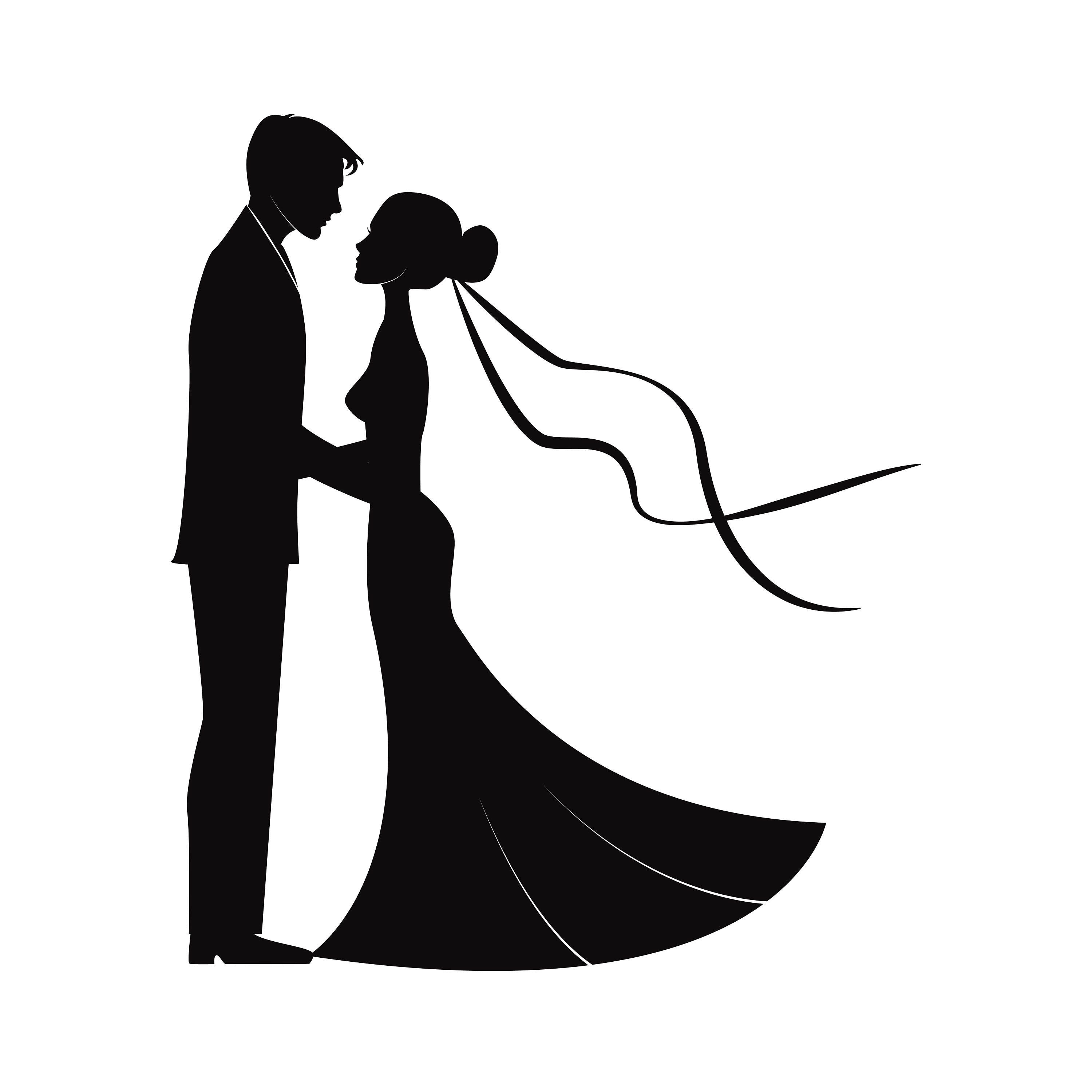 Wedding Couples In Silhouette SVG Marriage Bride And Groom