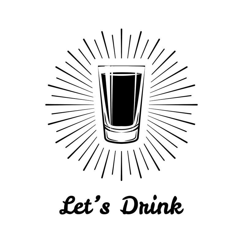 Shot icon SVG | Alcohol emblen | Shot in beams | Party logo | Let's drink |  Bar logotype | Alcohol menu | Digital file | Vector illustration