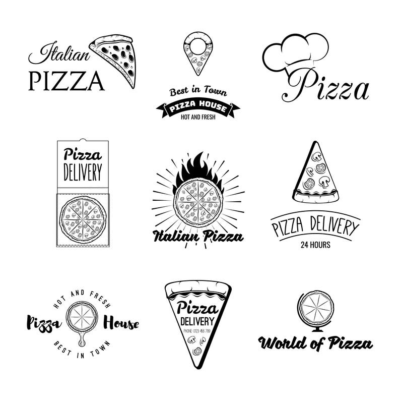 Pizza icons set SVG | Pizza delivery | Italian food | Pizzeria logo set |  Pizza piece, Chef's cap, Pizza box | Digital file | Vector
