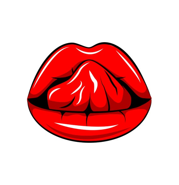 Sexy Lips Svg Tongue Red Lipstick Woman S Mouth Etsy