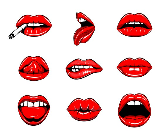 Lvres Sexy Svg Baisers Et Baisers Rouge  Lvres Rouge  Etsy-2044