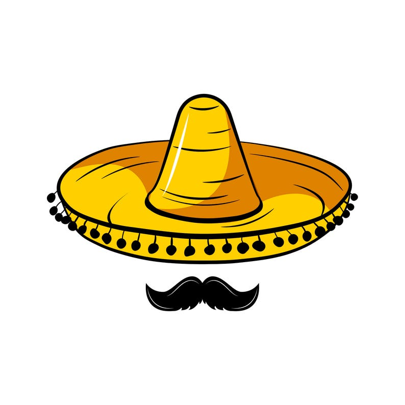 Sombrero Mustache Svg Mexico Hat Traditional Mexican Etsy