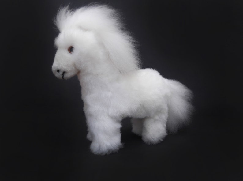 Soft Pony Stuffed Pony Stuffed Plush Pony White Pony Handmade Horse Stuffed Animal Horse Peruvian Alpaca Alpaca Gift
