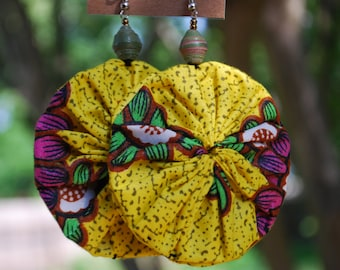 Tropical Sunshine! Ankara Fabric Earrings