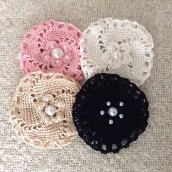 Crochet Hair Bun With Pearls Medium Crochet Bun Cover Bun Etsy