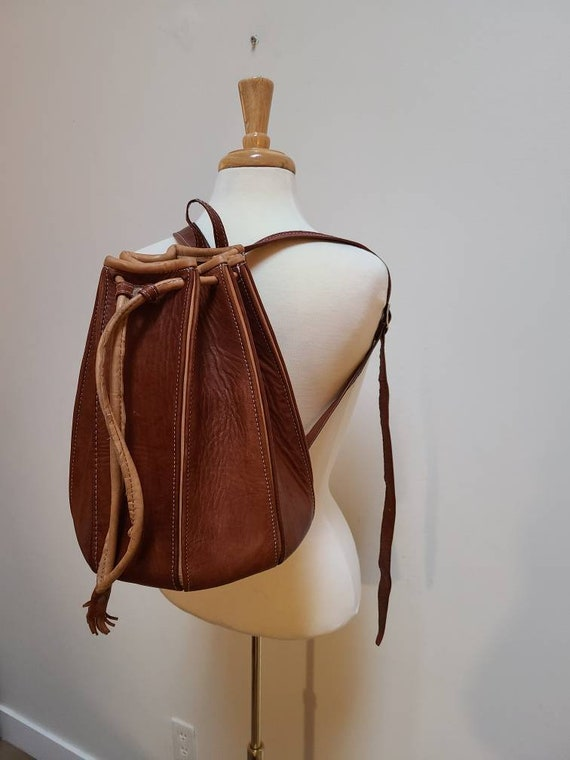 Leather bucket backpack pack leather satchel leath