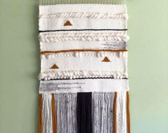 Large Modern Weaving, Wall Tapestry, Neutral and Mustard Wall Hanging