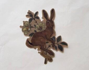 Bunny Vinyl Sticker, glossy - animals, nature, flowers, flora, fauna, illustration