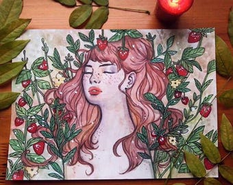Strawberry Kiss - Original Art - Painting - Watercolour