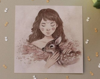 Rose Petal - Art Print - illustration, animals, deer, flowers, delicate