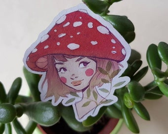 Mushroom Girl - Sticker - Kraft/Recycled paper - nature, plants, illustration