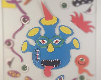 Magnetic Monster Mixer Toy - Build-a-Monster Set, Blue Monster