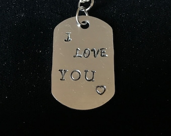 """Starry Night Creations """"I Love You"""" Hand Stamped Dog-Tag Necklace"""